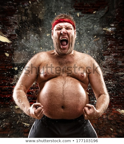 screaming shirtless young man Stock photo © feedough