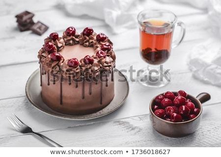 Csokoládés sütemény cseresznye fehér étel buli születésnap Stock fotó © Stellis