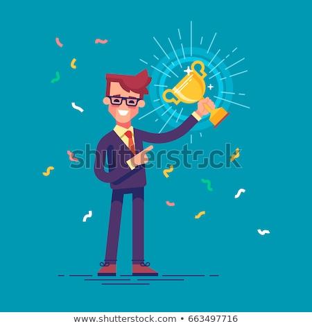 Vrolijk zakenlieden gouden beker gezicht Stockfoto © photography33