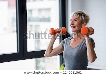 encajar · activo · nina · pesos · fitness - foto stock © stryjek