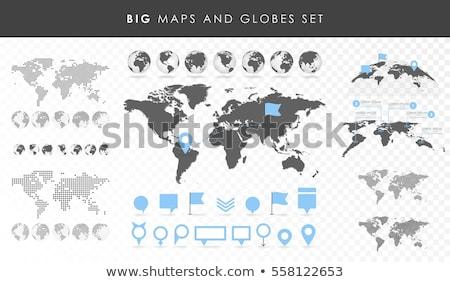 Grande mapa conjunto isolado cinza internet Foto stock © adamson