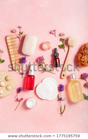 Stockfoto: Pink Flowers Brush And Sponge For Wellness In A Beauty Spa