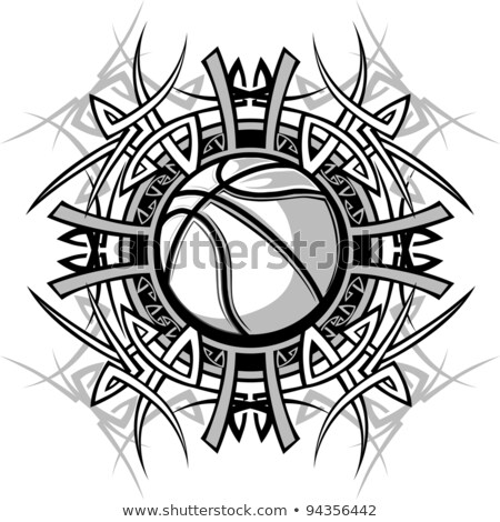 Basketball With Tribal Borders Vector Graphic Image Stock foto © ChromaCo