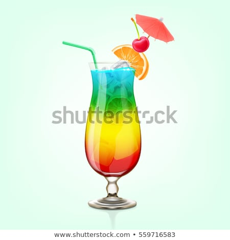 Regenbogen Cocktail isoliert weiß Party Glas Stock foto © fixer00