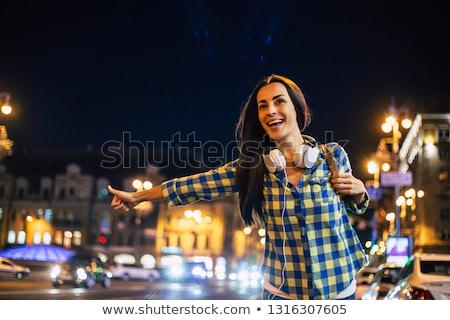 Elvesz taxi női taxi külső helyes Stock fotó © cboswell