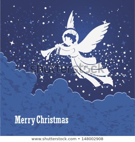 Stockfoto: Zingen · christmas · engelen · nacht · hemel · sneeuw