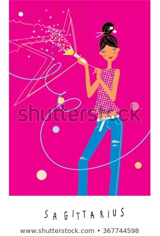woman sagittarius sign for coloring Stock photo © izakowski