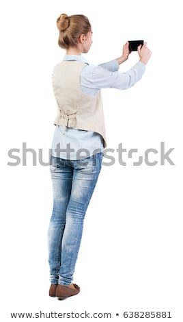 The beauty girl in a vest over white Stock photo © acidgrey