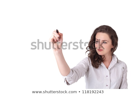 Stock photo: Young woman drawing on wihteboard