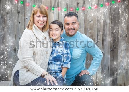小さな · 混血 · 家族 · クリスマス · 肖像 · 家族の肖像画 - ストックフォト © feverpitch