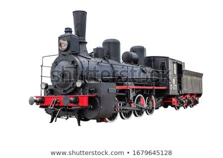 oude · zwarte · stoomlocomotief · wielen · spoorweg · track - stockfoto © goce