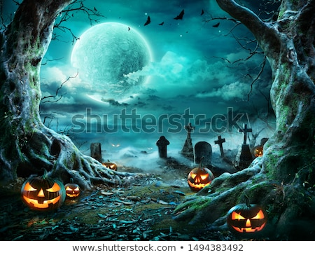 Хэллоуин ночь дерево дома луна Bat Сток-фото © WaD