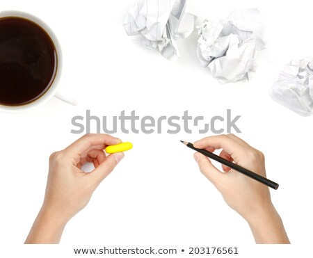 human hands with pencil and erase rubber and cup of coffee stock photo © vlad_star