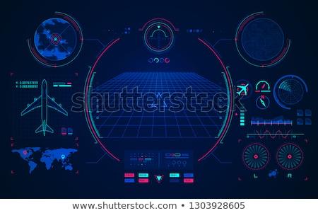 Stock fotó: Radar · repülőgép · repülőgép · vektor · égbolt · földgömb