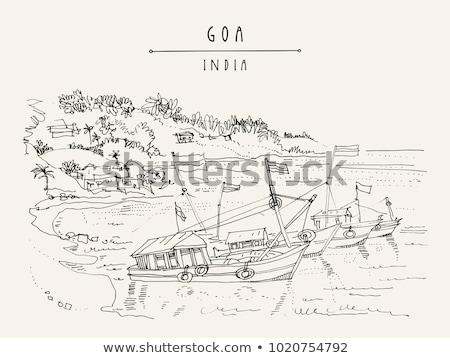 Stockfoto: Oude · vissen · boten · strand · Indië · water