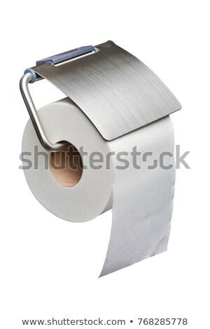 Metallic chrome tissue paper holder isolates on white  Stock photo © JohnKasawa