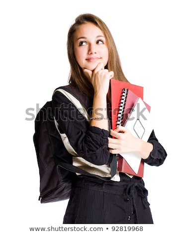 Portrait of a cute young student girl with pondering gesture Stock photo © natalinka