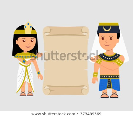 Egyptian Woman and Man Holding Papyrus Stock photo © MasaMima