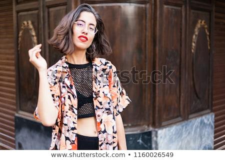 брюнетка моде портрет улице природного улыбка Сток-фото © lunamarina