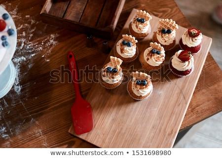 Taze çörek tablo gıda kek içmek Stok fotoğraf © maisicon