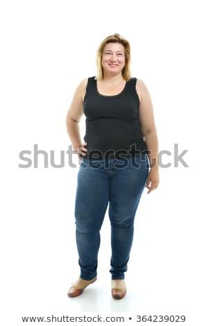 plus · size · mulher · negra · sensual · menina · preto · gordura - foto stock © basheeradesigns