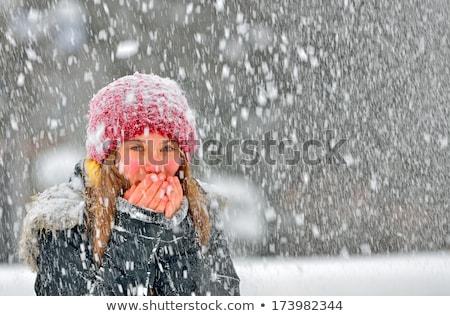 gelukkig · vrouw · sneeuwval · blonde · vrouw · lopen · handen - stockfoto © rob_stark