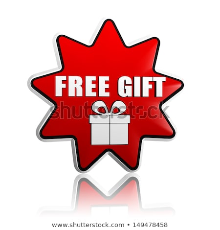 free gift with present box sign in red star banner stock photo © marinini