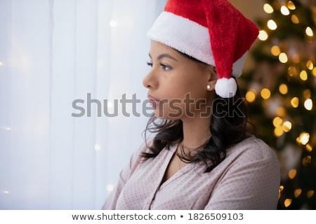 クリスマス 少女 悲しい 若い女の子 帽子 白 ストックフォト © Kor