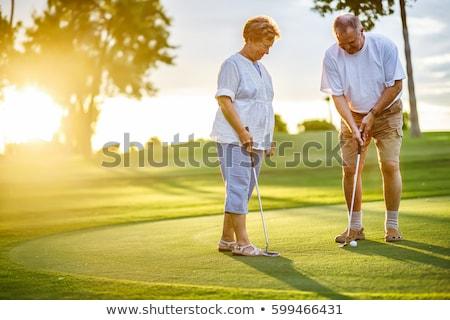 Stock fotó: érett · pár · játszik · golf · idős · pár · nő