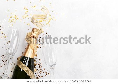 dos · gafas · champán · presente · rojo · espejo - foto stock © tetkoren