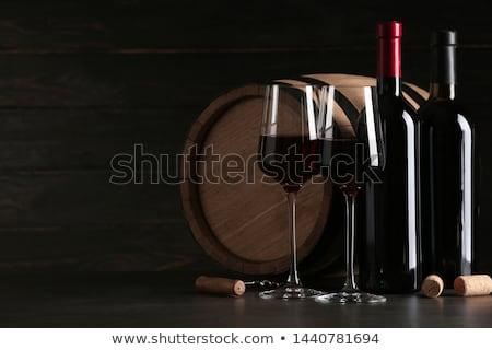 Vinho tinto garrafa óculos isolado branco Foto stock © karandaev