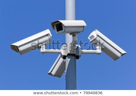 Stock fotó: Négy · biztonság · fényképezőgépek · kék · ég · város · kék
