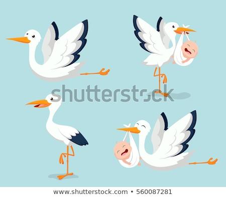 gólya · gyermek · sziluett · család · madár · madarak - stock fotó © ustofre9