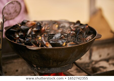 mussel with wine sauce and fries Stock photo © M-studio