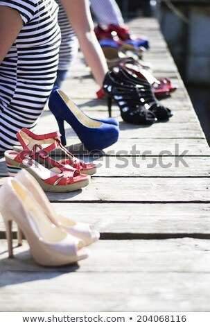 High heels metallic blue female shoes  Stock photo © Elisanth