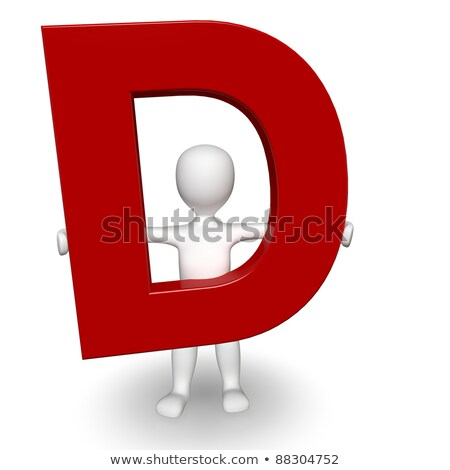 3d human charcter holding red letter d stock photo © giashpee
