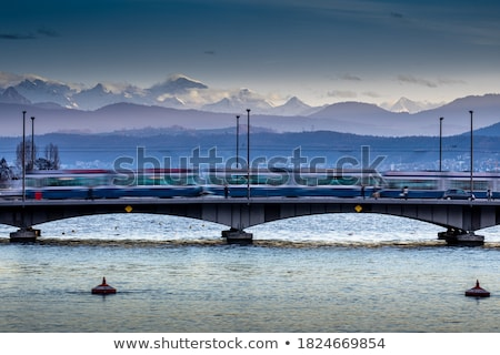 Zurich cityscape with motion blurred city traffic Stock photo © lightpoet