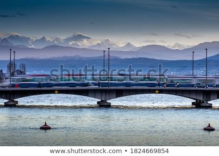Zürich · városkép · légifelvétel · óra · tájkép · nyár - stock fotó © lightpoet