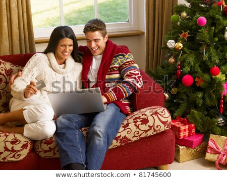 Jonge latino paar christmas winkelen online Stockfoto © monkey_business
