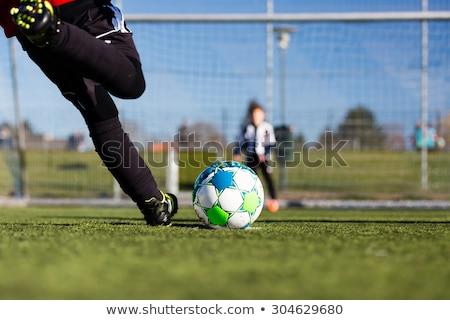サッカー · ペナルティ · キック · テクスチャ · 緑 · 1泊 - ストックフォト © bigandt