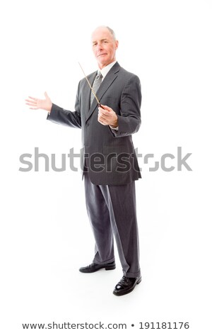 Businessman holding a conductor's baton Stock photo © bmonteny