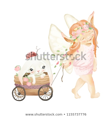 Cute baby fairy and ladybug Stock photo © Dazdraperma
