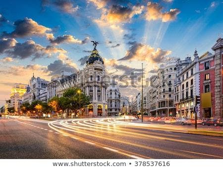Madrid Spanyolország Európa sugarak közlekedési lámpa utca Stock fotó © kasto