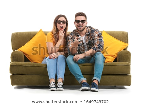 TV and man on white background. Isolated 3D image stock photo © ISerg