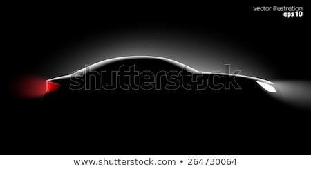 white silhouette of car on black background vector illustration stock photo © leonido