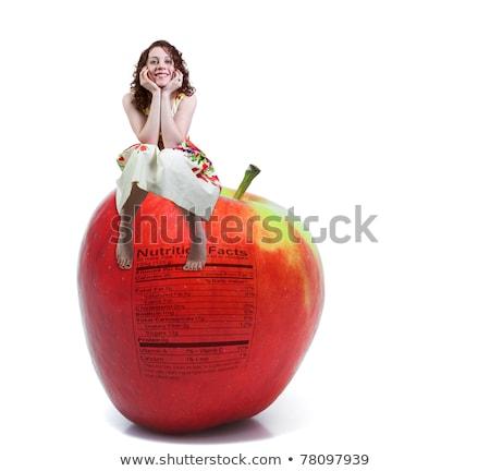 Mulher sessão vermelho delicioso maçã nutrição Foto stock © piedmontphoto