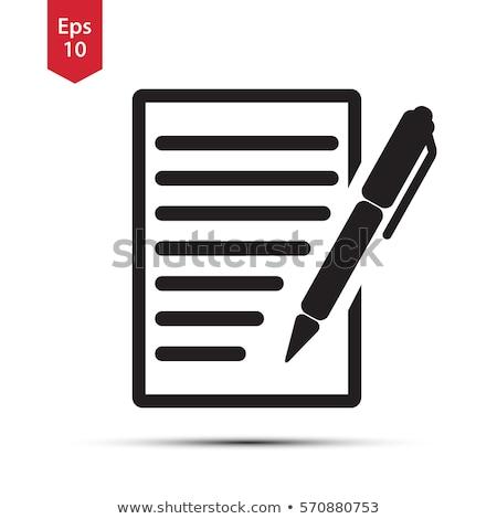 pen · papier · geïsoleerd · zwarte · witte · schrijven - stockfoto © Ximinez