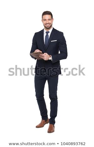 retrato · homem · branco · trabalhar · fundo - foto stock © deandrobot