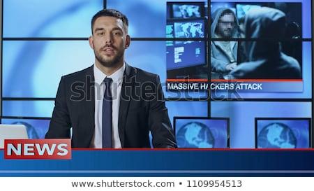 Verslaggever presenteren nieuws tv studio monitor Stockfoto © IvicaNS