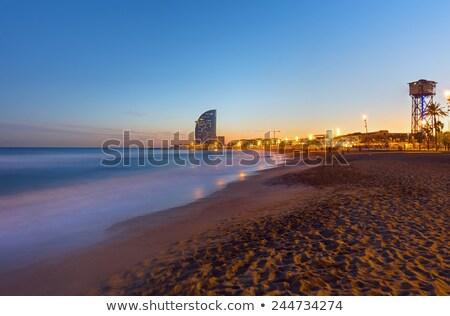 Barcelona playa puesta de sol uno playas agua Foto stock © elxeneize